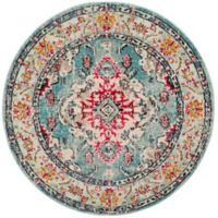 Safavieh Monaco Vintage Bohemian 6-Foot 7-Inch Round Area Rug in Light Blue/Fuchsia