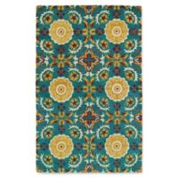 Kaleen Global Inspirations Floral Tile 9-Foot x 12-Foot Area Rug in Turquoise