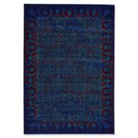Feizy Cassia Floral Border 8-Foot Round Area Rug in Blue