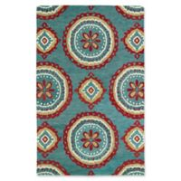 Kaleen Global Inspirations Medallion 9-Foot x 12-Foot Area Rug in Teal