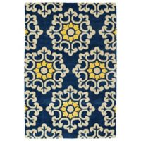 Kaleen Global Inspiration Stencil 3-Foot 6-Inch x 5-Foot 6-Inch Rug in Blue