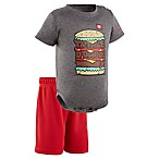 Under Armour® Size 6-9M 2-Piece Burger Tech Bodysuit and Short Set in Grey
