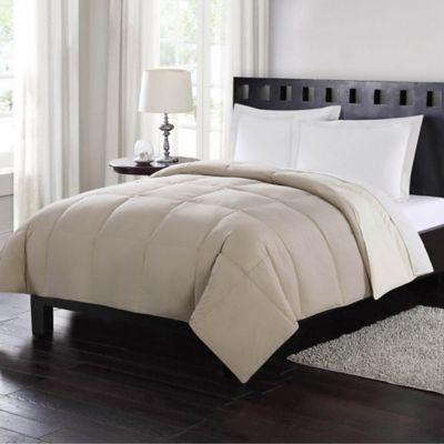 london fog fullqueen reversible down comforter in tan - Queen Down Comforter