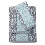 Watercolor Damask Hand Towel in Aqua/Grey