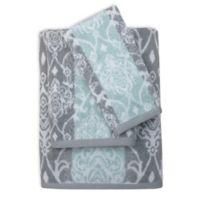 Watercolor Damask Bath Towel in Aqua/Grey