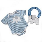 Baby Aspen Size 0-6M 2-Piece Bodysuit and Elephant Bib Set in Blue/Grey