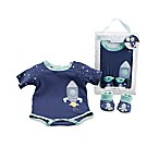 Baby Aspen Cosmo Tot Size 0-6M 2-Piece Spaceship Bodysuit with Bootie Set in Blue/White