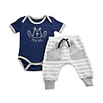 Baby Aspen Size 0-6M Baby Bear 2-Piece Pajama Gift Set in White/Blue