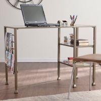 Southern Enterprises Metal/Glass Writing Desk in Matte Khaki