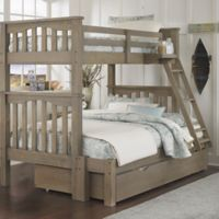 NE Kids Highlands Harper Bunk Twin/Full Bed with Trundle in Driftwood