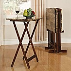 Linon Home Tray Table Set in Marble Brown