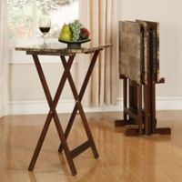 Linon Tray Table Set in Marble Brown