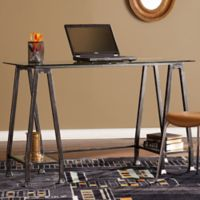 Southern Enterprises Metal and Glass A-Frame Desk in Distressed Black