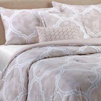 C Lattice 5 Piece Full Queen Comforter Set In Taupe