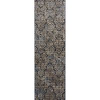 KAS Provence 2-Foot 2-Inch x 6-Foot 11-Inch Damask Runner Rug in Slate Blue