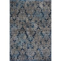 KAS Provence 3-Foot 3-inch x 4-Foot 7-Inch Damask Accent Rug in Slate Blue