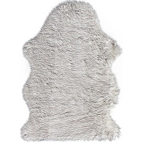 royale quatro faux fur area rug in grey bed bath beyond. Black Bedroom Furniture Sets. Home Design Ideas