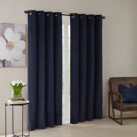 Madison Park® Monroe Solid Velvet 84-Inch Grommet Top Window Curtain Panel in Navy