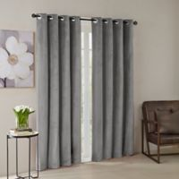 Madison Park® Monroe Solid Velvet 95-Inch Grommet Top Window Curtain Panel in Grey