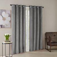 Madison Park® Monroe Solid Velvet 95-Inch Grommet Top Window Curtain Panel in Grey