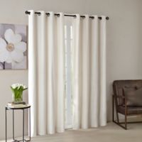 Madison Park® Monroe Solid Velvet 95-Inch Grommet Top Window Curtain Panel in Ivory