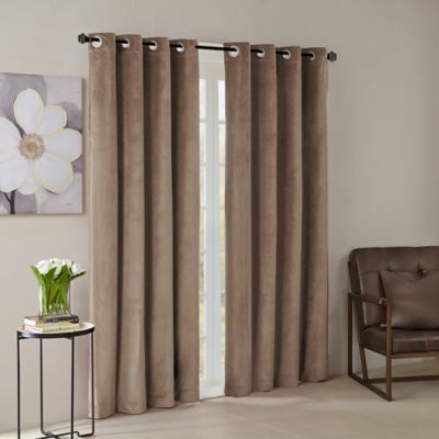 Madison Park® Monroe Solid Velvet 84 Inch Grommet Top Window Curtain Panel  In Taupe