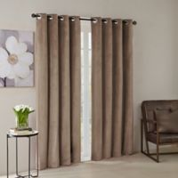 Madison Park® Monroe Solid Velvet 95-Inch Grommet Top Window Curtain Panel in Taupe