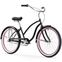"Firmstrong Chief Lady 26"" Three Speed Beach Cruiser Bicycle in Black w/Pink Rims"