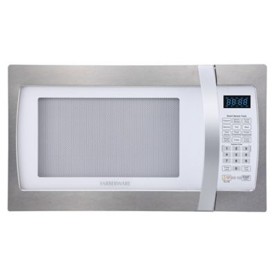Farberware 1 3 Cubic Feet Microwave Oven With Smart Sensor Cooking In Stainless Steel Platinum