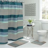 Regent Stripe 15-Piece Bath Bundle Set in Blue/Grey