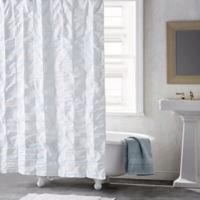 DKNY® Check Please 72-Inch Shower Curtain in White/Blue