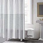 DKNY Parsons Stripe Shower Curtain in Silver