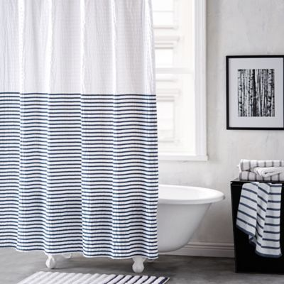 Brown and white striped shower curtains