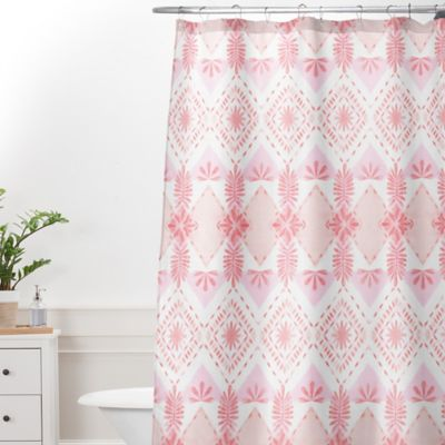 deny designs dash and ash strawberry picnic extralong shower curtain in pink