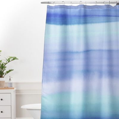 DENY Designs Amy Sia Ombre Watercolor Standard Shower Curtain In Blue