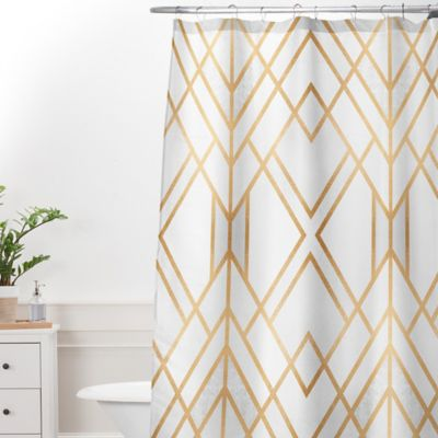 DENY Designs Elisabeth Frederiksson Geo 69 Inch X 72 Shower Curtain In Gold