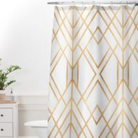 DENY Designs Elisabeth Frederiksson Geo 69-Inch x 72-Inch Shower Curtain in Gold