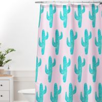 DENY Designs Bianca Green Linocut Cacti Candy 72 Inch Shower Curtain In Pink