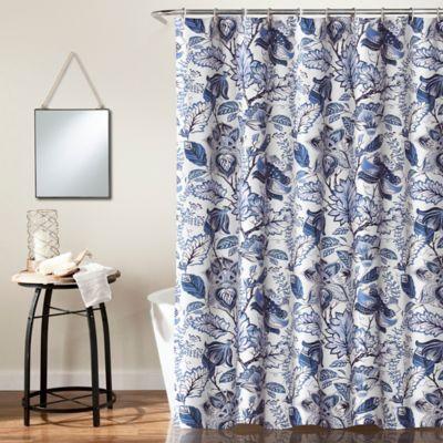 Cynthia Jacobean Shower Curtain In Blue