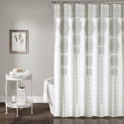 Stripe Medallion 72 Inch Shower Curtain In Grey