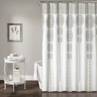 Stripe Medallion 72-Inch Shower Curtain in Grey
