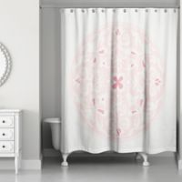 Moroccan Circles Shower Curtain in Coral