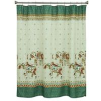 Bacova Boho Elephant Shower Curtain in Green/Beige
