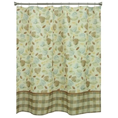 Tetons Leaves Shower Curtain In Ivory/Blue