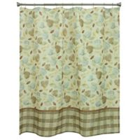 Tetons Leaves Shower Curtain In Ivory Blue