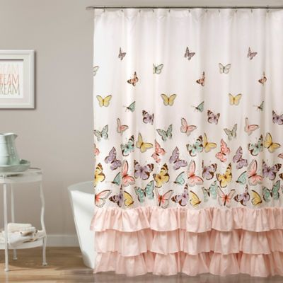 pale pink shower curtain. Flutter Butterfly Shower Curtain In Pink Buy From Bed Bath  Beyond
