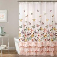 Flutter Butterfly Shower Curtain In Pink