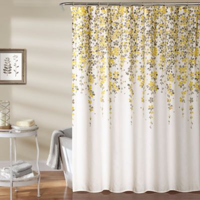 Weeping Flower 72 Inch Shower Curtain In Yellow/Grey