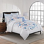 April Showers King Duvet Cover Set in White/Blue