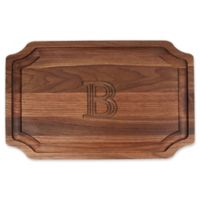 "Cutting Board Company 15-Inch x 24-Inch Scalloped Wood Monogram Letter ""B"" Carving Board in Walnut"